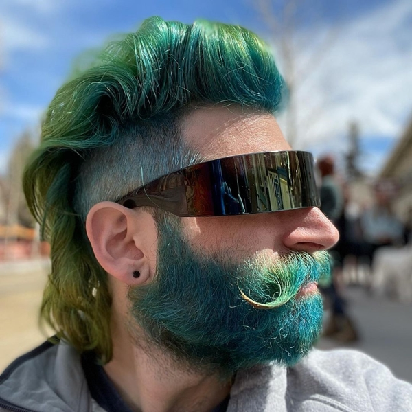 Dyed beard and curled mustache
